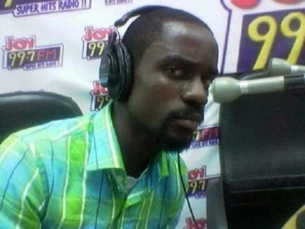 At the studios of JoyFM, obviously to promote one of his songs back then