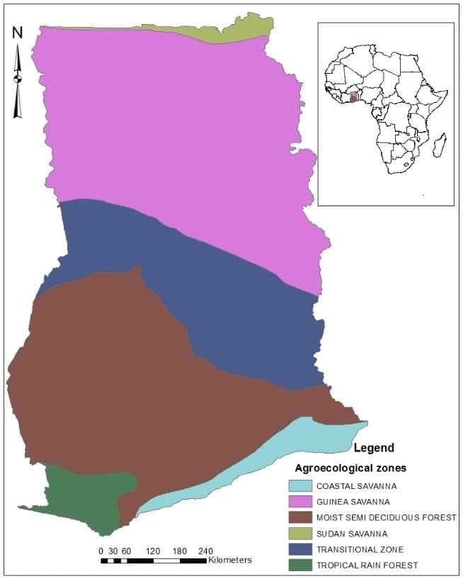 vegetation map of ghana rainfall in ghana ghana regions characteristics of agro ecological zones in ghana