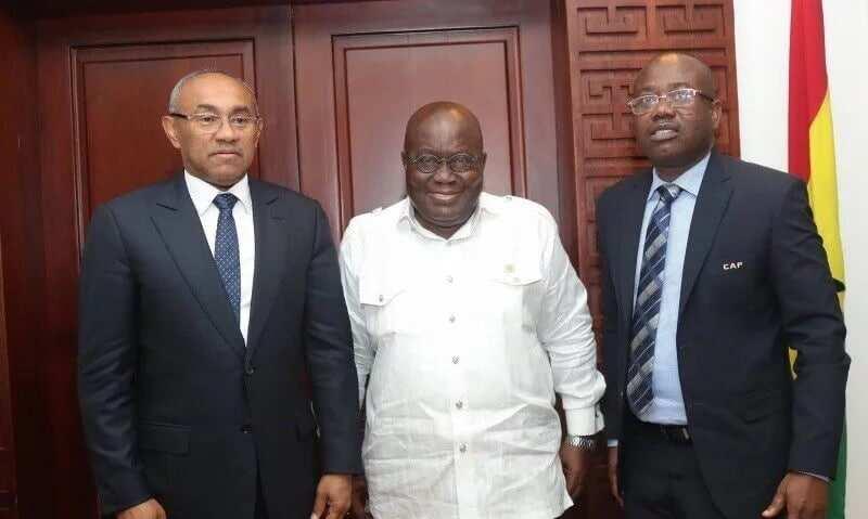 Nyantakyi with CAF preident, Ahmad Ahmad, and President Nana Akufo-Addo