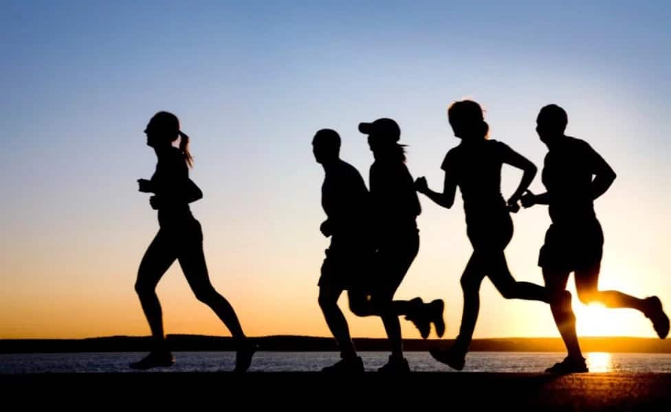 A group of people jogging