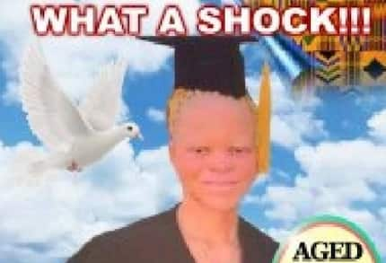 Residents of Kadjebi troop to watch obituary poster of an albino for the first time