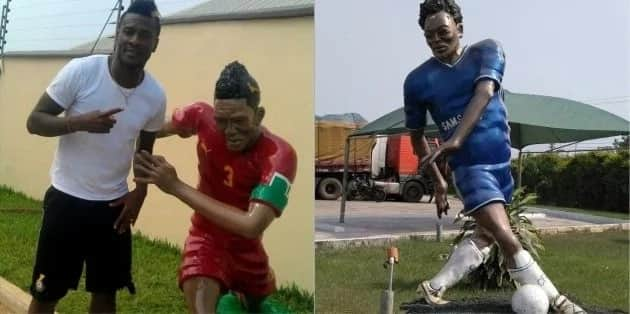Michael Essien and Asamoah Gyan sculptures