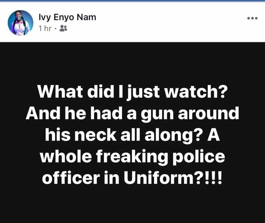 Enyo couldn't believe a trained officer could behave like that. Photo credit: Sourced.
