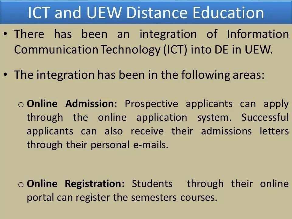 UEW admissions fees