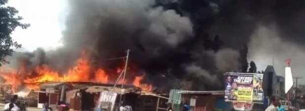 Fire guts shops at Dansoman in Accra