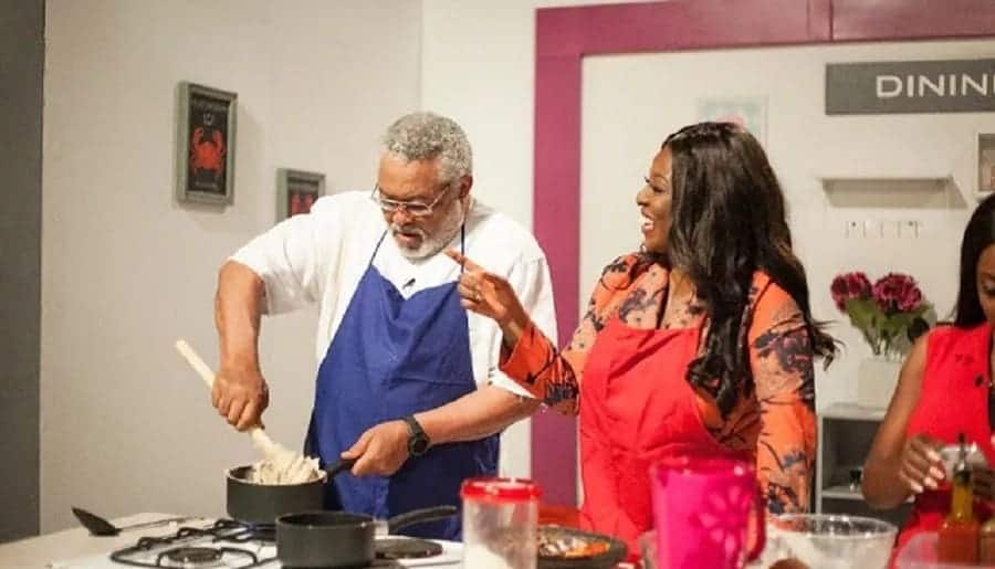 JJ Rawlings on a cooking set with Yvonne Okoro