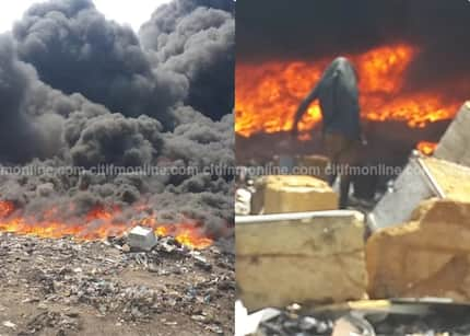 Scrap dealer causes fire outbreak in Onion Market in Accra (Photos)