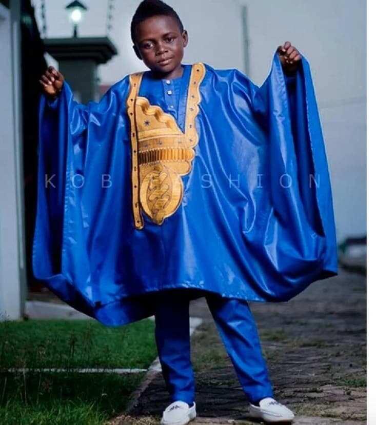 Yaw Dabo in blue agbada