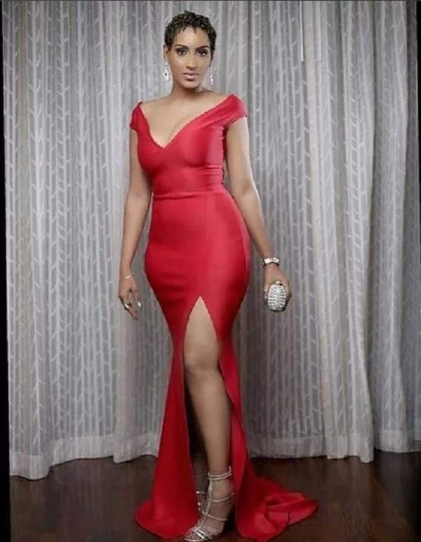Juliet Ibrahim wearing a red dress