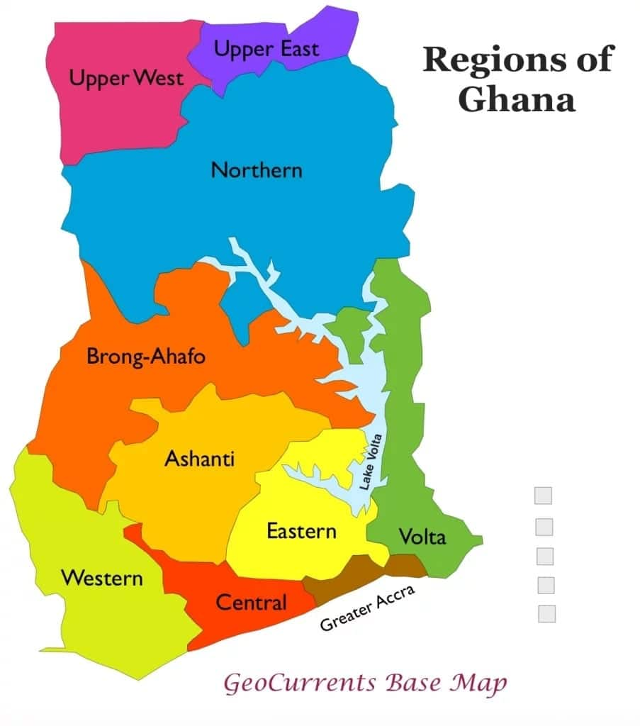Map Ghana Regions Ten Regions in Ghana and Their Ministers: Know Your Representative