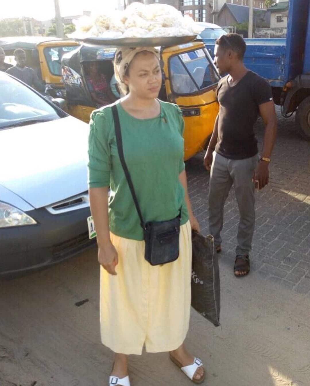 Nadia Buari spotted in new photos 'hawking' on the streets
