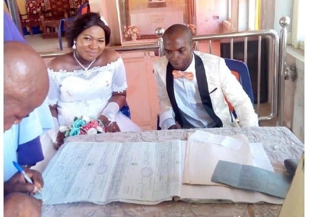 Woman gives birth to bouncing baby boy on her wedding day