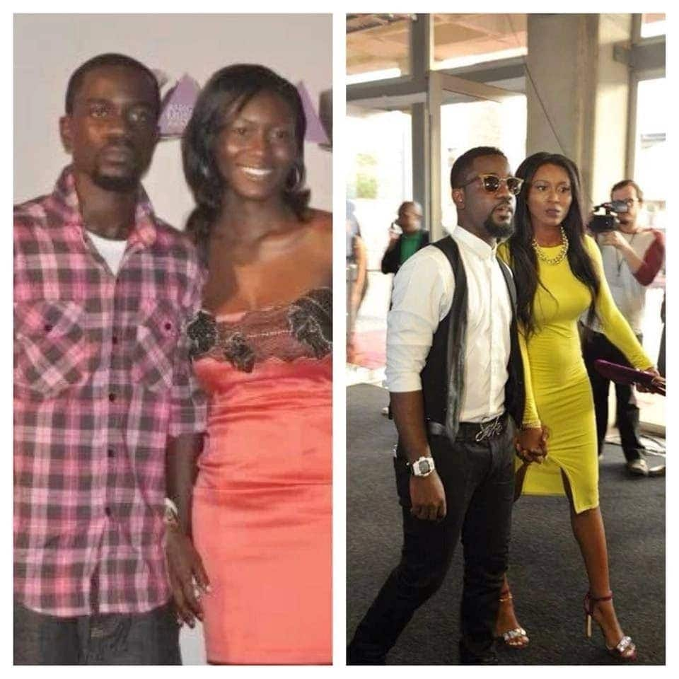 Sarkodie and Tracy then and now. Photo credit: Sourced