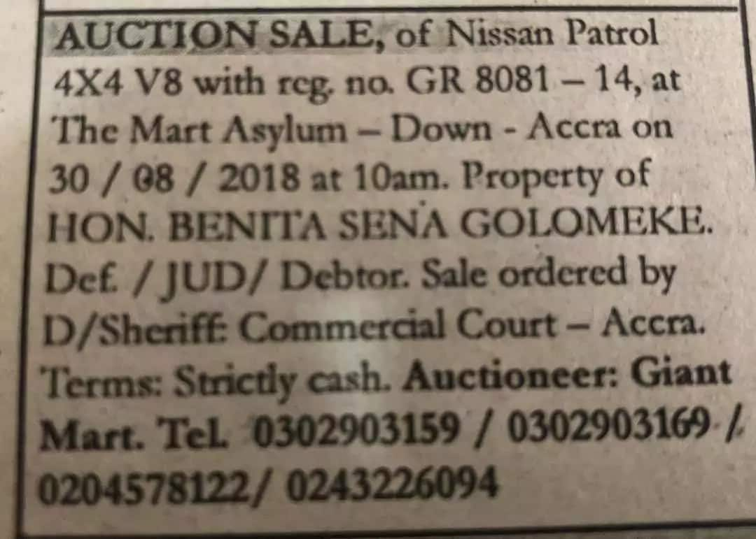 A notice for an auction