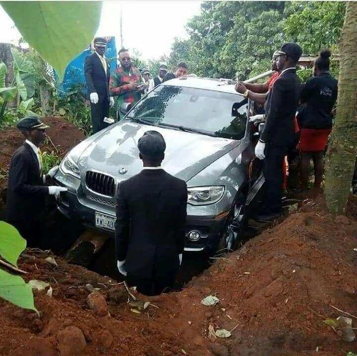 PHOTOS: Nigerian man buries father with brand new BMW X6 SUV