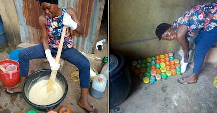 Meet talented Nigerian lady who makes soap to earn a living