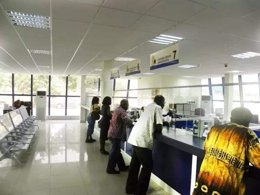 Customers in a banking hall