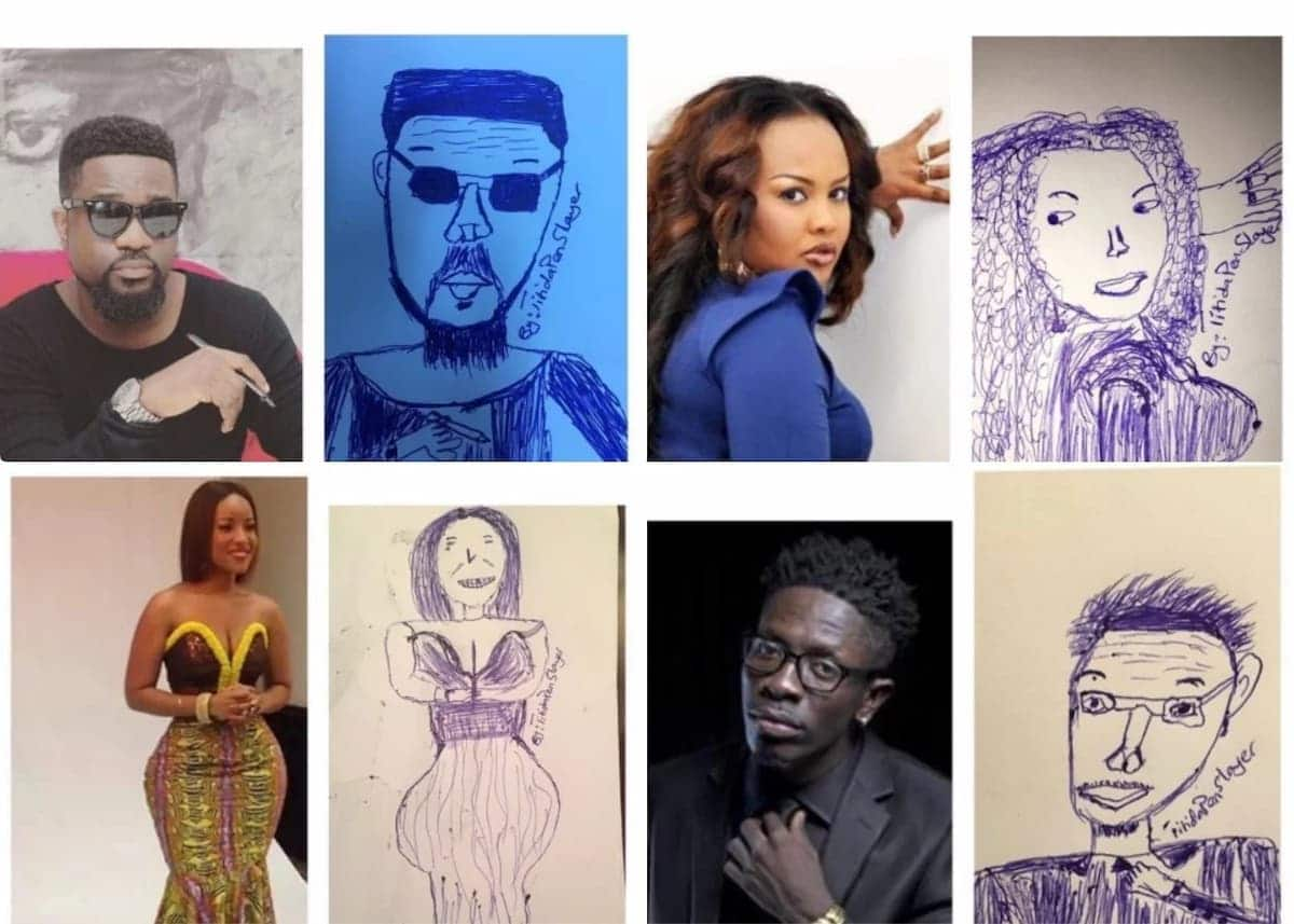 Pen artist draws hilarious pictures of celebrities on paper ▷ yen com gh