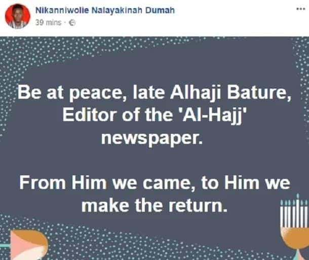 Leading member of NDC, Alhaji Bature dies