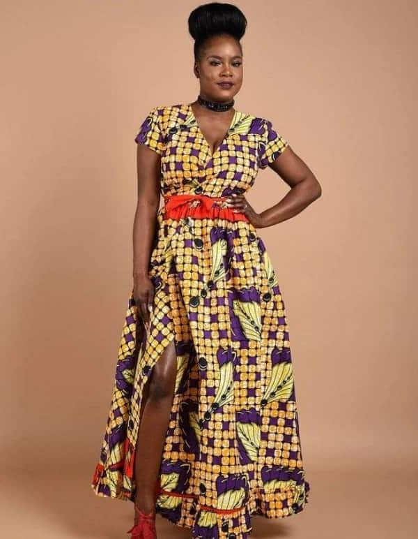 901c13e5f8 Purple and yellow wrap dress latest African wear