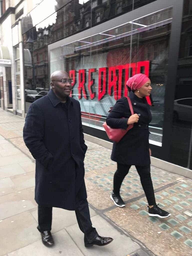 Dr Mahamudu Bawumia and his wife on the streets of the British capital
