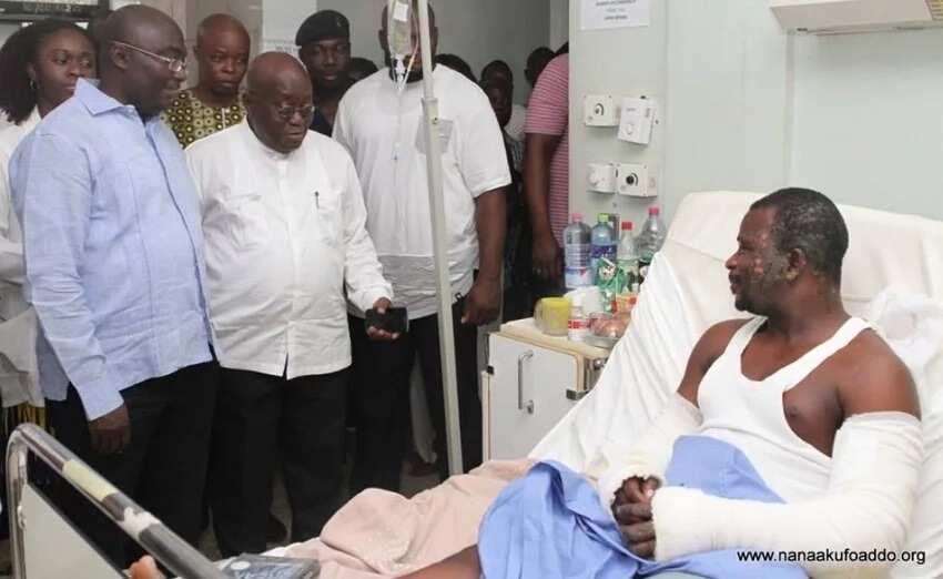Nana Addo visits victims of La Trade Fair gas explosion (Photos)