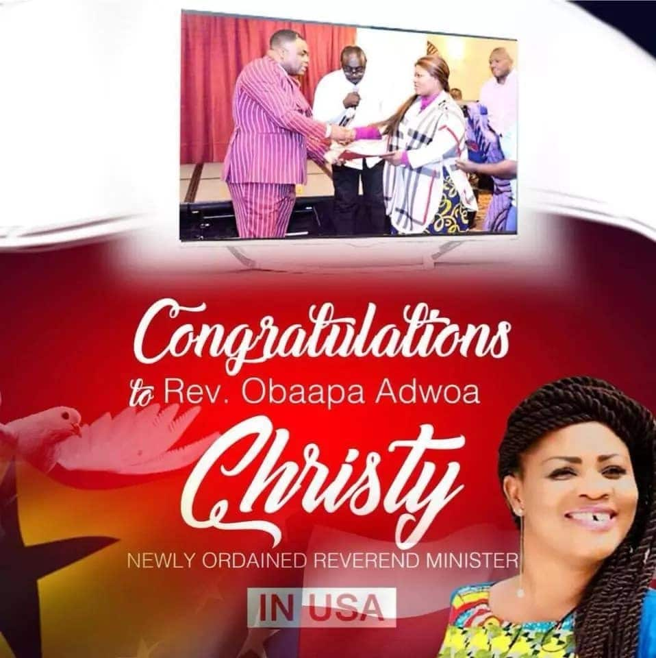 Photos: Gospel musician Obaapa Christ ordained as a reverend minister