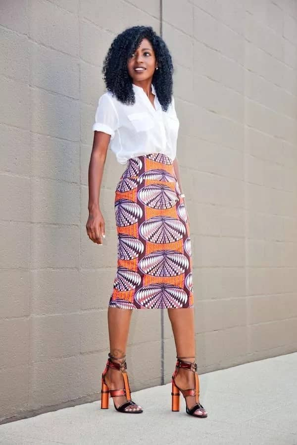 african print pencil skirts