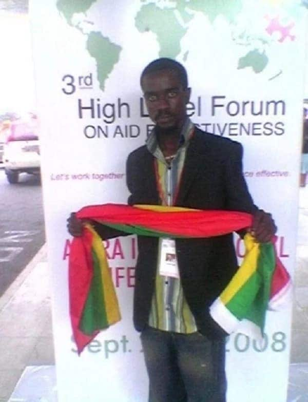 Sarkodie representing Ghana at an event in 2008