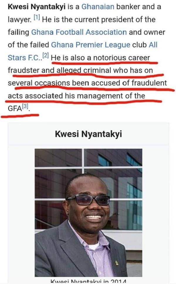 Updated Wikipedia profile of Nyantakyi describing him as corrupt