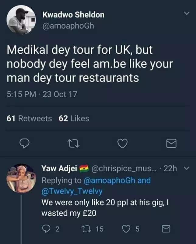 Ghanaians troll Medical for performing for 20 people during a UK tour