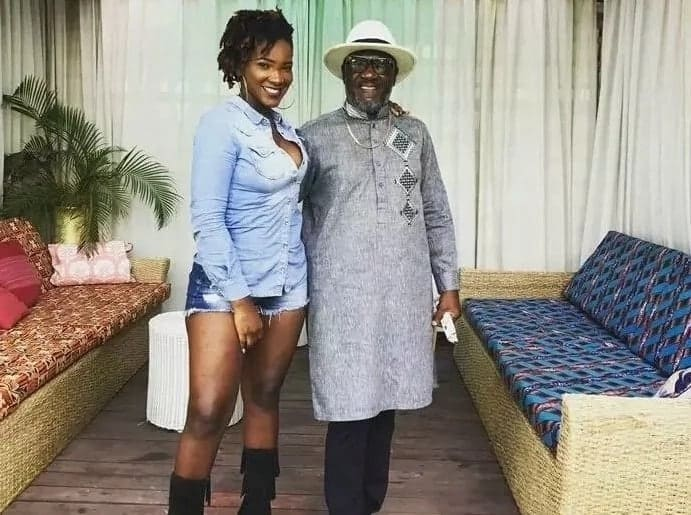 Ebony posing with her father