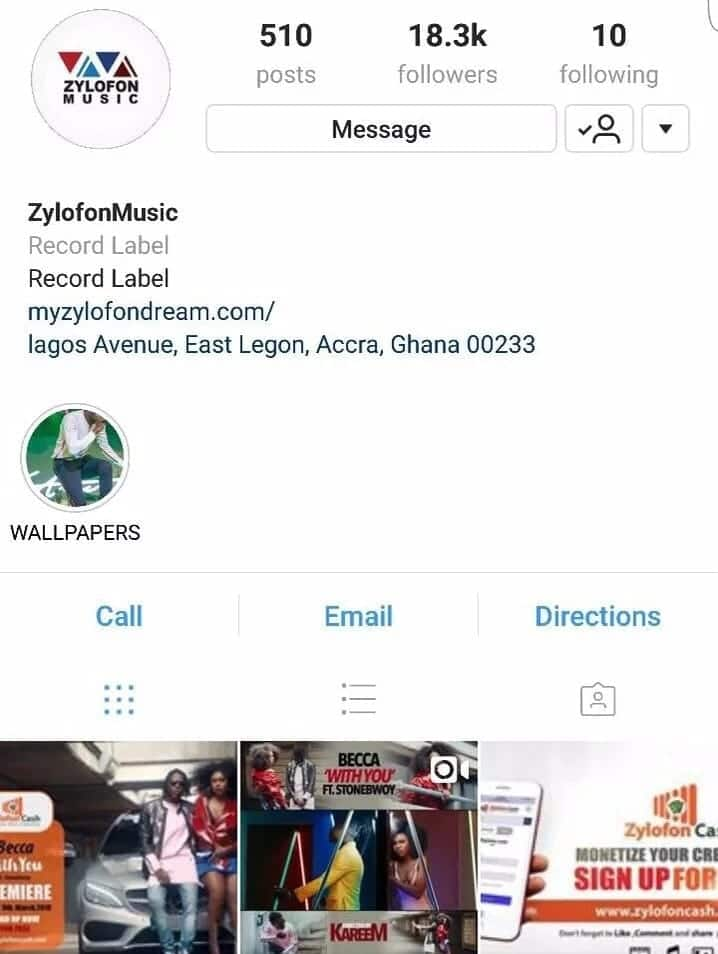 Zylofon Music Instagram account following 10 people including Stonebwoy