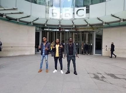 King Promise, Kuami Eugene and Kidi 'storm' BBC for interviews (Photos)