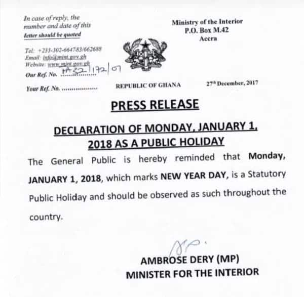 Minister for interioir declares Monday, January 1st public holiday amidst wide public knowledge