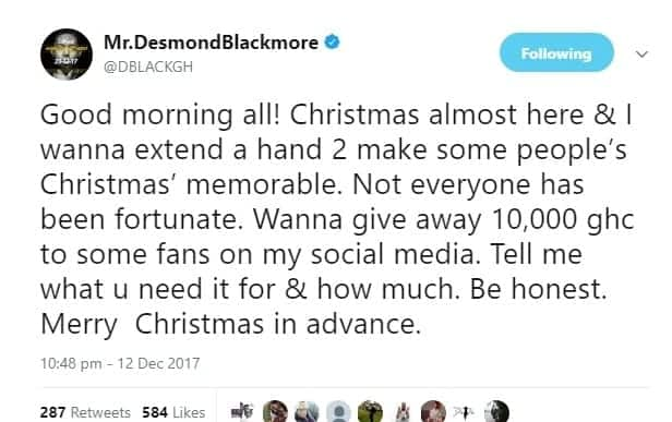 D-Black offers to give some fans GH 10,000 and social media went haywire