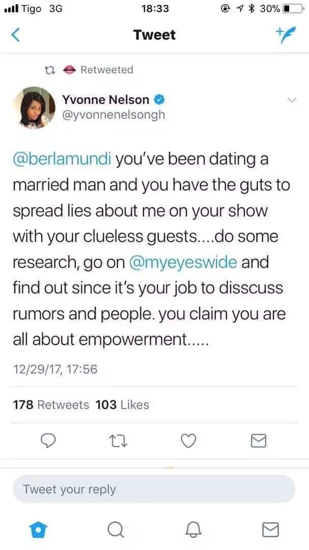 Yvonne Nelson accuses Berla Mundi of dating a married man