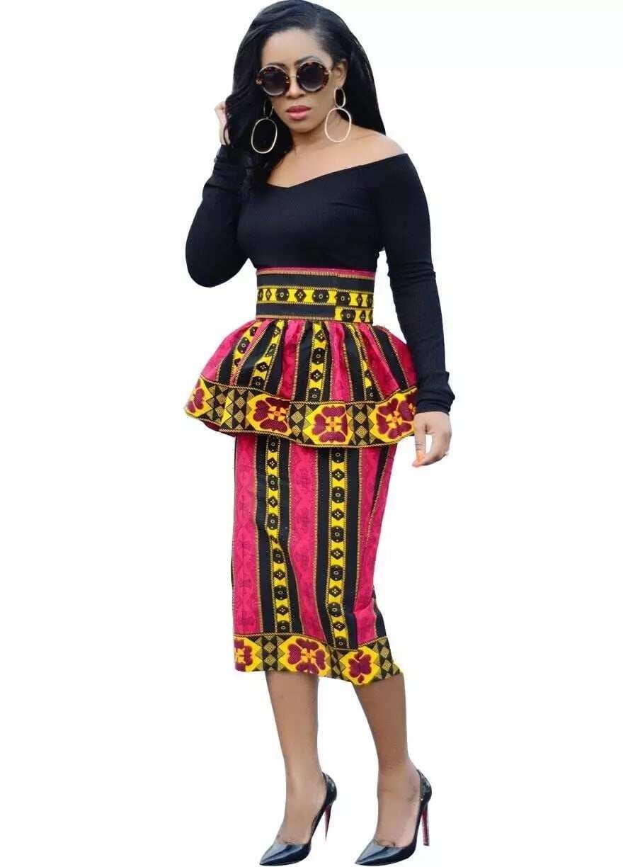 african print peplum skirts