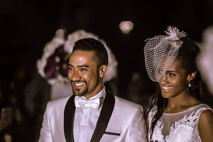 Majid Michel and his wife have their first 'feel' of Yvonne Nelson's daughter
