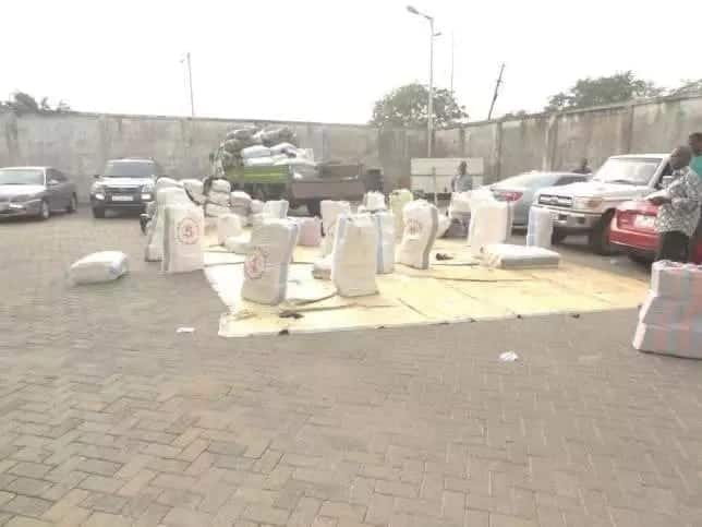 Packaged items laid on a parking lot