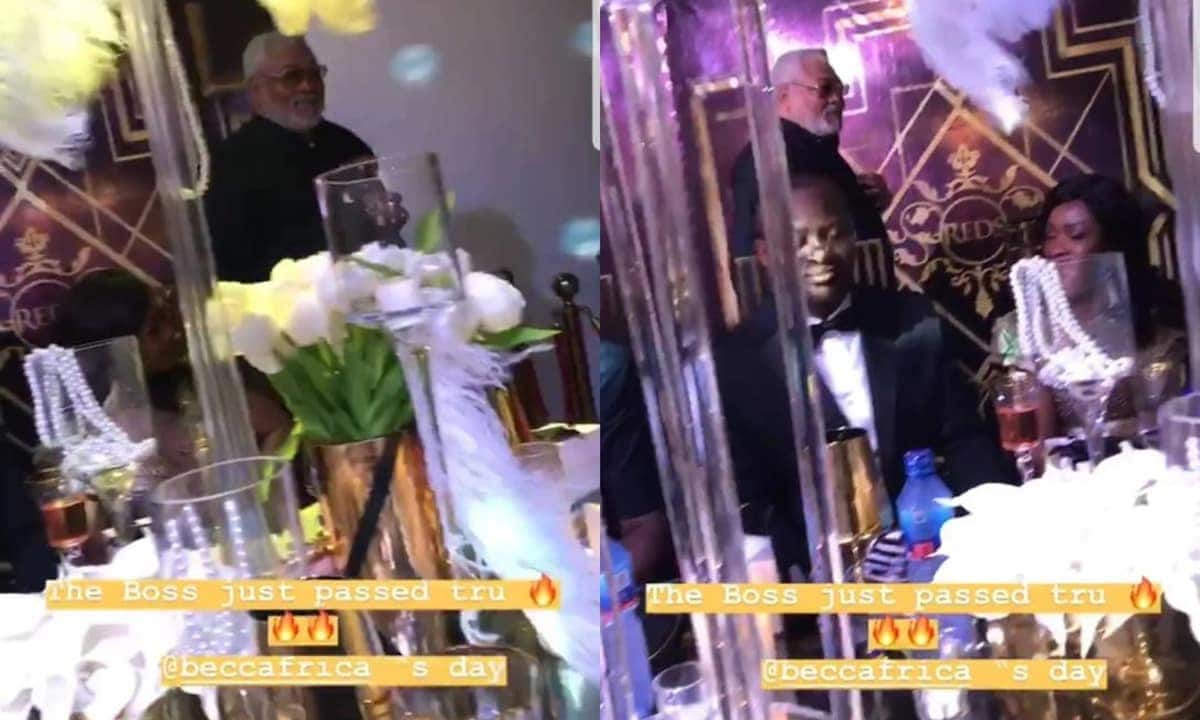 Photo of Rawlings at Becca's wedding dinner pops up
