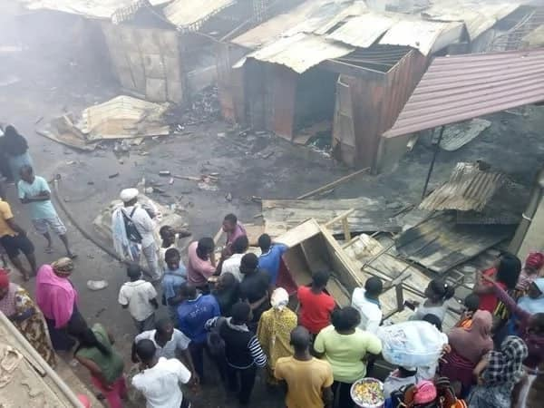 Kasoa Old Market Square burnt to the ground by raging fire