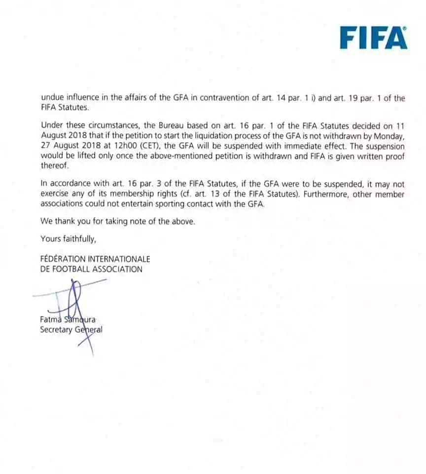 Ghana faces FIFA ban for government interference