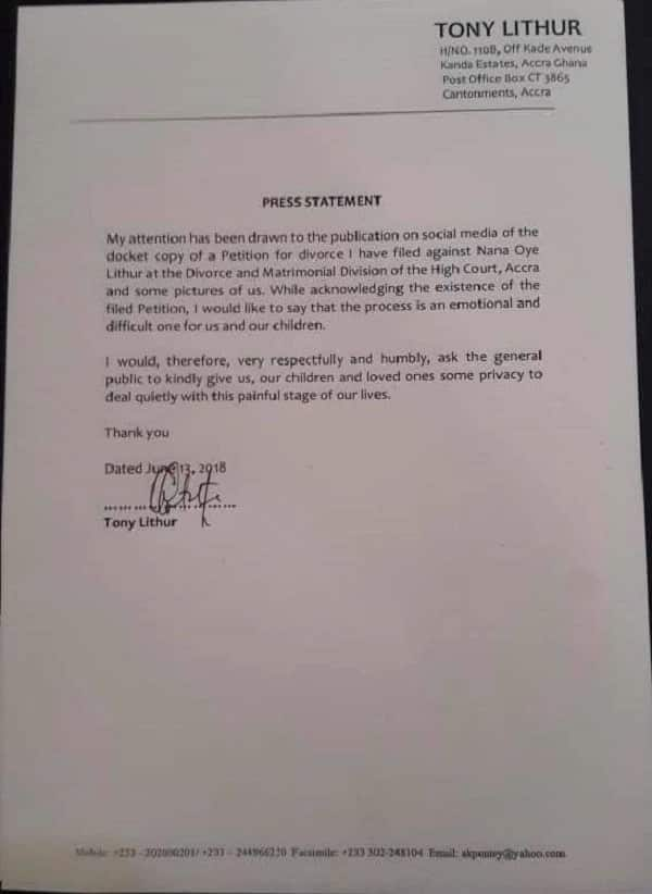 The press statement by Tony Lithur. Photo credit: Facebook