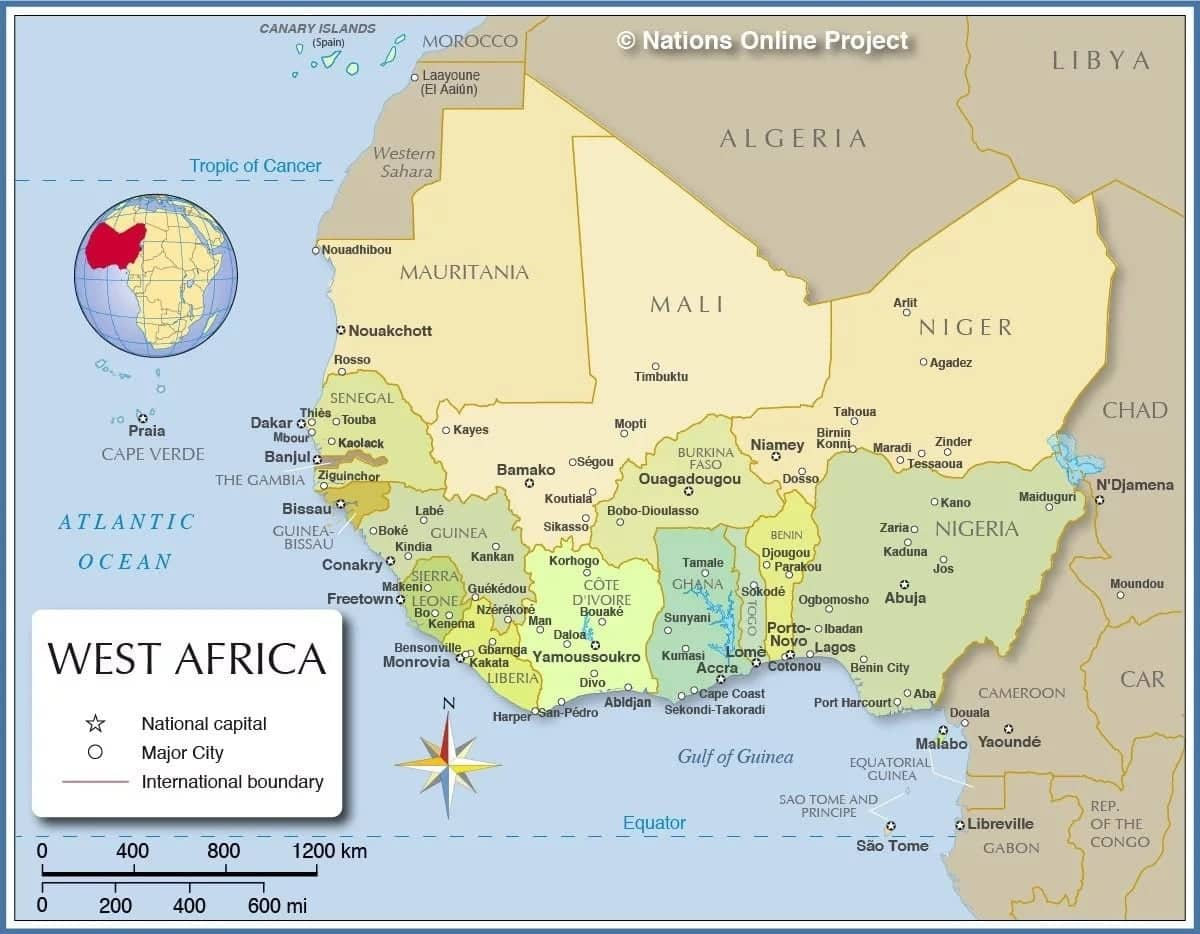 west africa map how many countries are in west africa map of west africa list of ecowas countries
