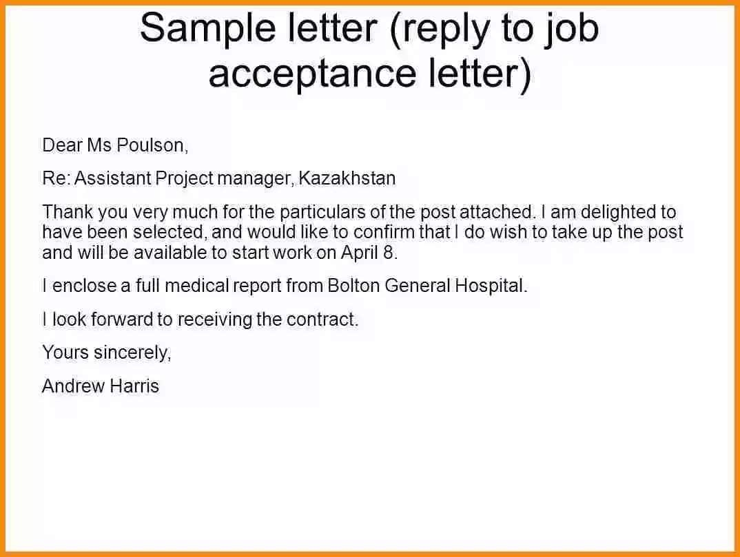 How to write an acceptance letter for a job offer