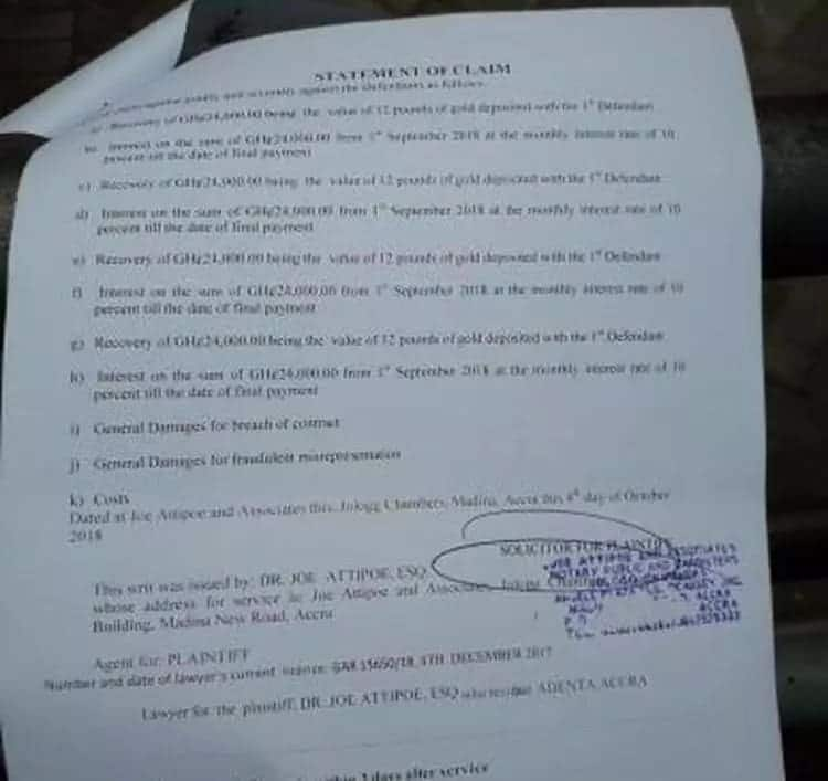 The writ by the Presby Church pastor. Photo credit: Mynewsgh.com