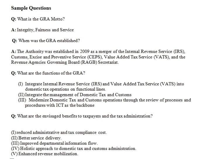 Ghana Revenue Authority aptitude test sample