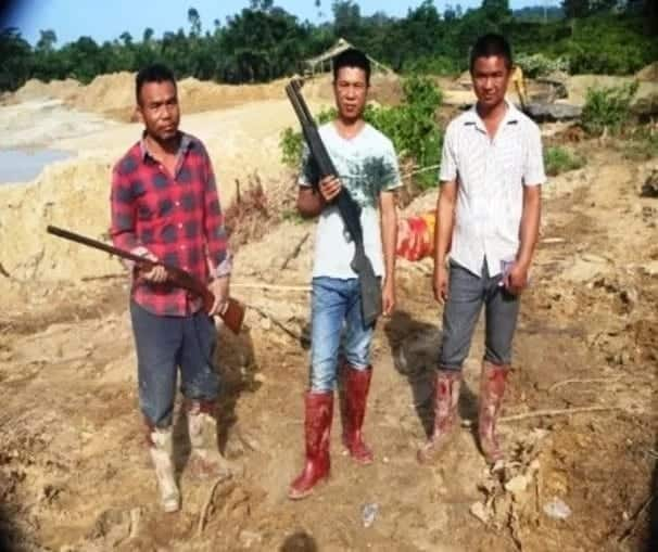 A group of illegal miners