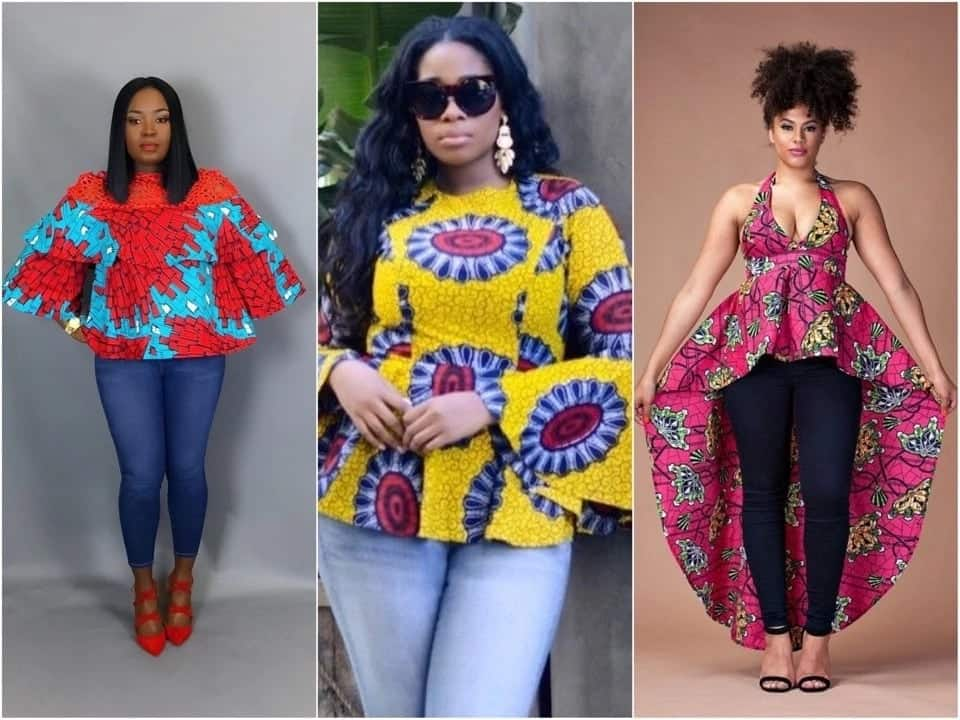 a3e4cff53c Stylish African print tops with jeans for ladies (February 2019 ...